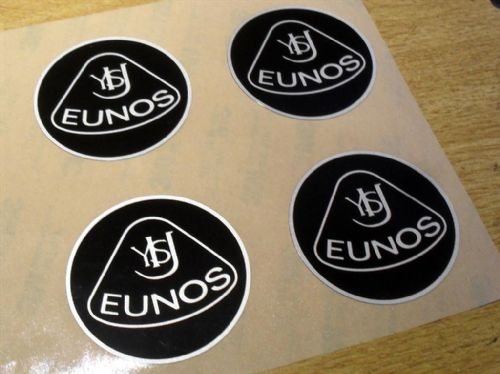 Badge, plastic, Eunos, retro style, 55mm, black/silver, set of 4
